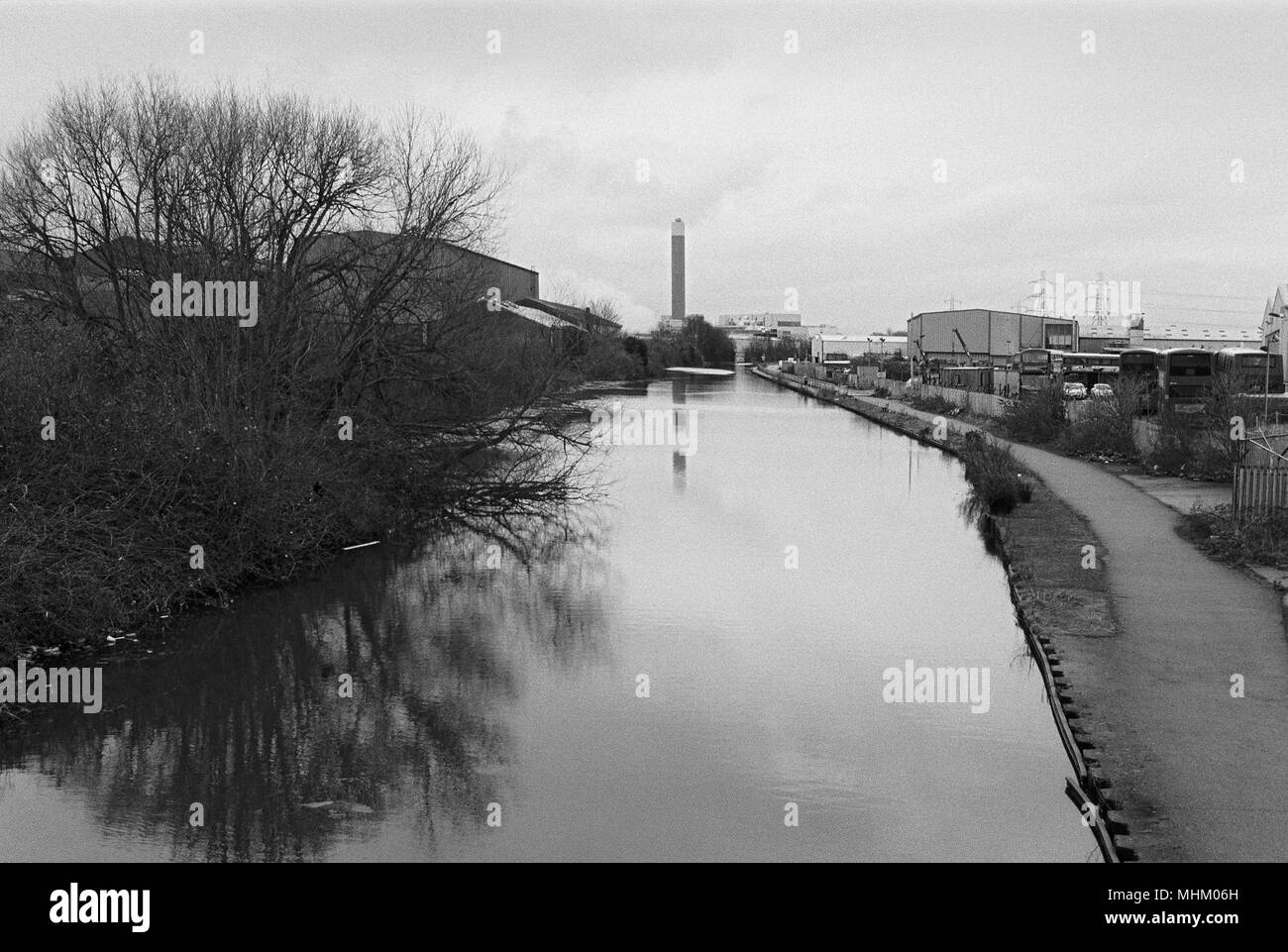 River Lea in winter near Edmonton, North London UK, looking north towards Enfield - Stock Image