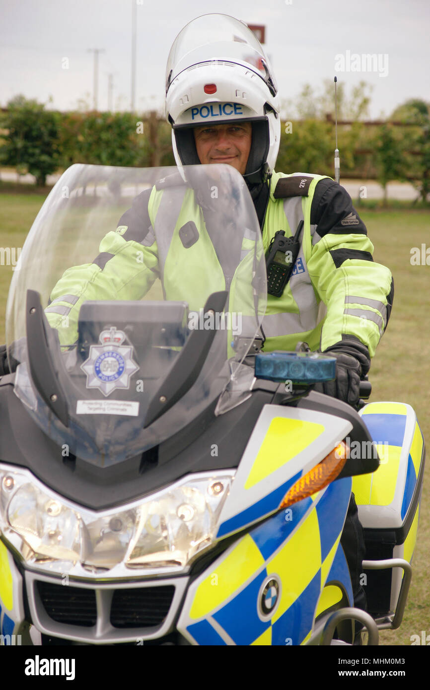 police officer on police motorcycle Stock Photo