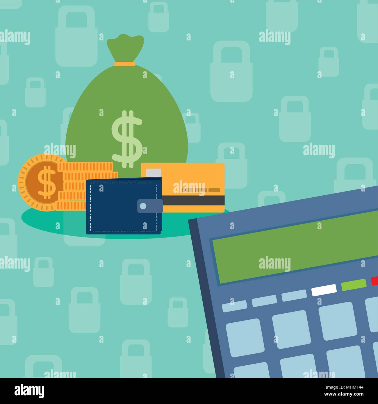 Secure money and savings - Stock Vector