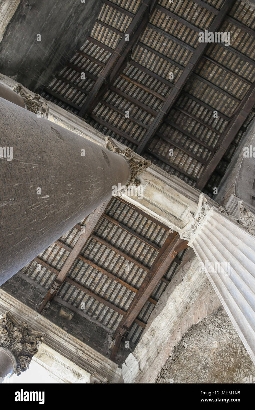 underneath the roof of the Pantheon in Rome Italy - Stock Image