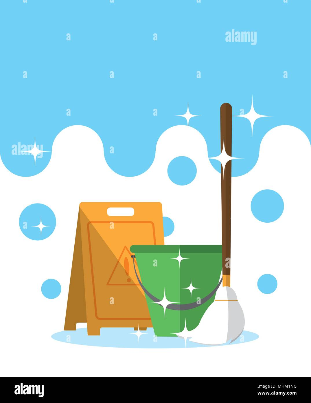 Bucket and mop - Stock Vector