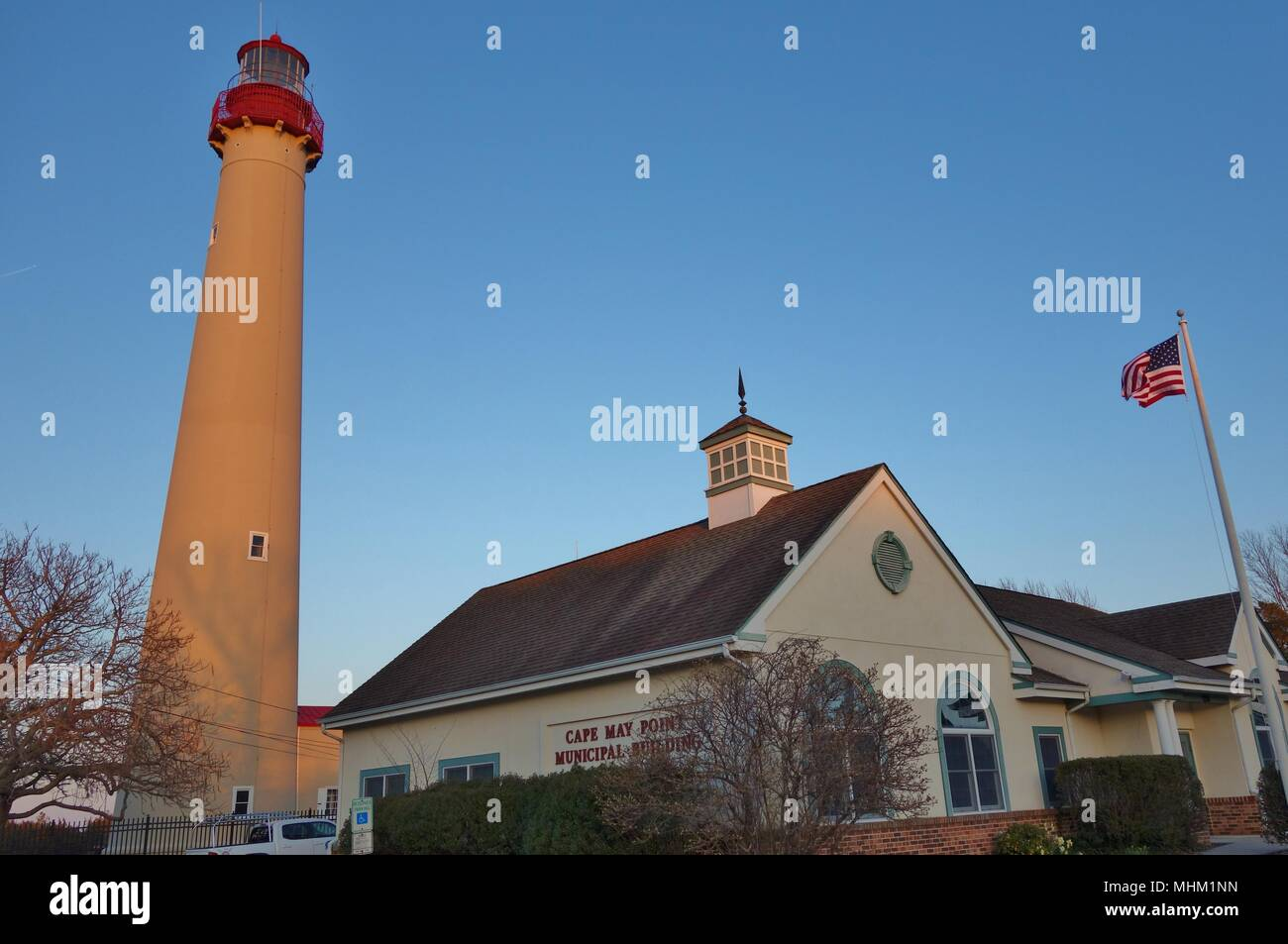 View of the Cape May Lighthouse, located at the tip of Cape May, in Lower Township's Cape May Point State Park, New Jersey - Stock Image