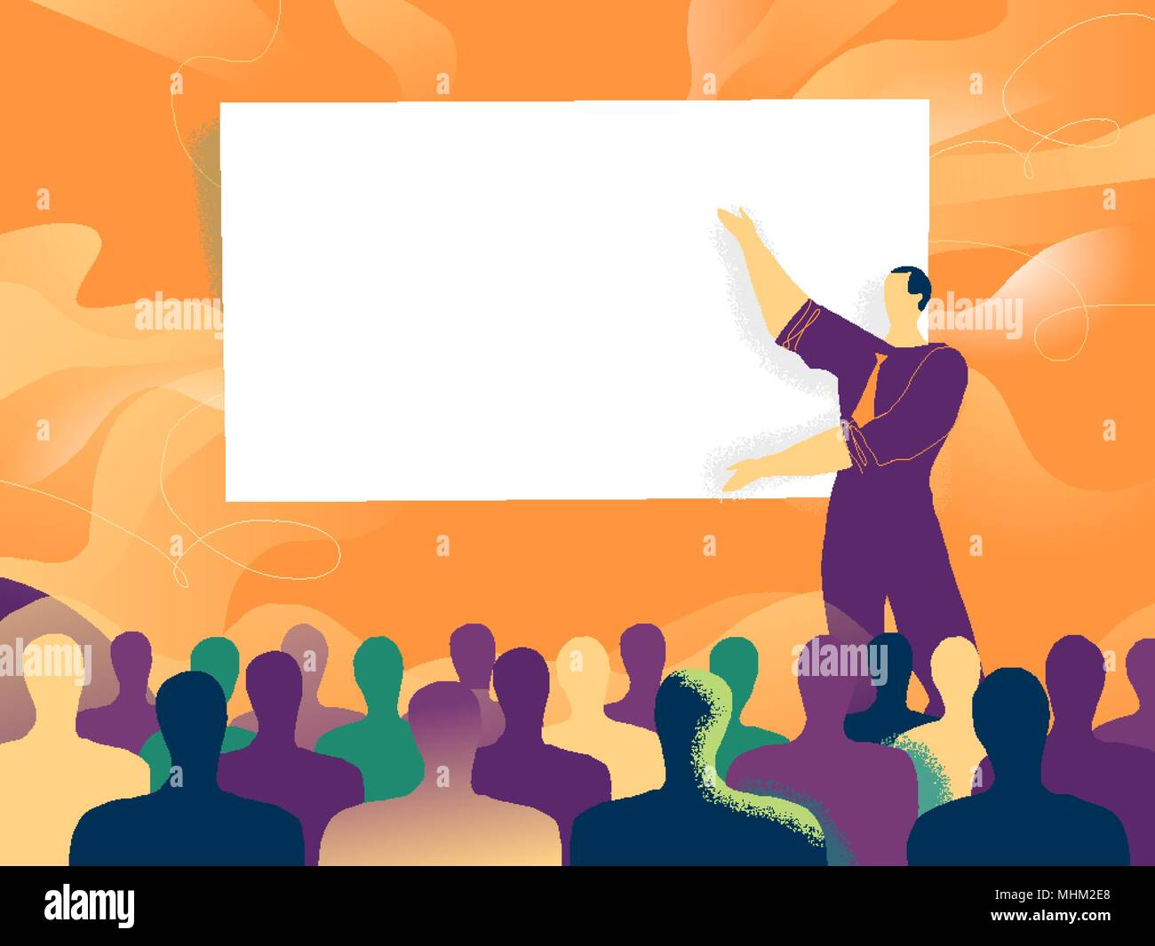 A relator presents slide during a conference in front of crowd - Stock Image