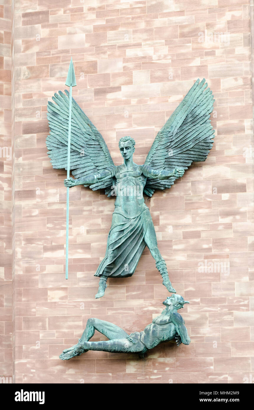 Sculpture by Jacob Epstein of St Michael's victory over the devil - Stock Image