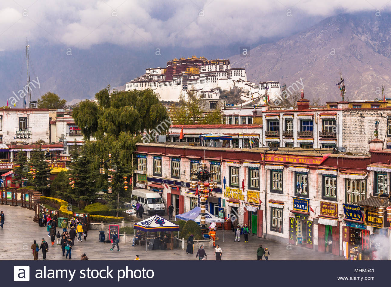 Potala Palace from the Jokhang Temple in Lhasa, Tibet - Stock Image