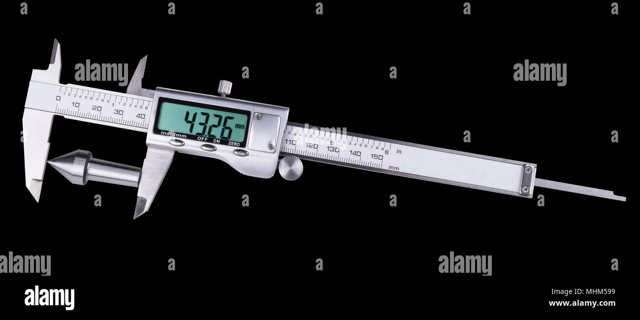 Measurement of conical steel machine part by digital caliper. Accurate gauging a replaceable center in lathe tailstock. Isolated on black background. - Stock Image