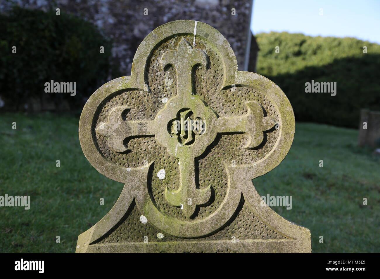 Grave stone symbol - Stock Image