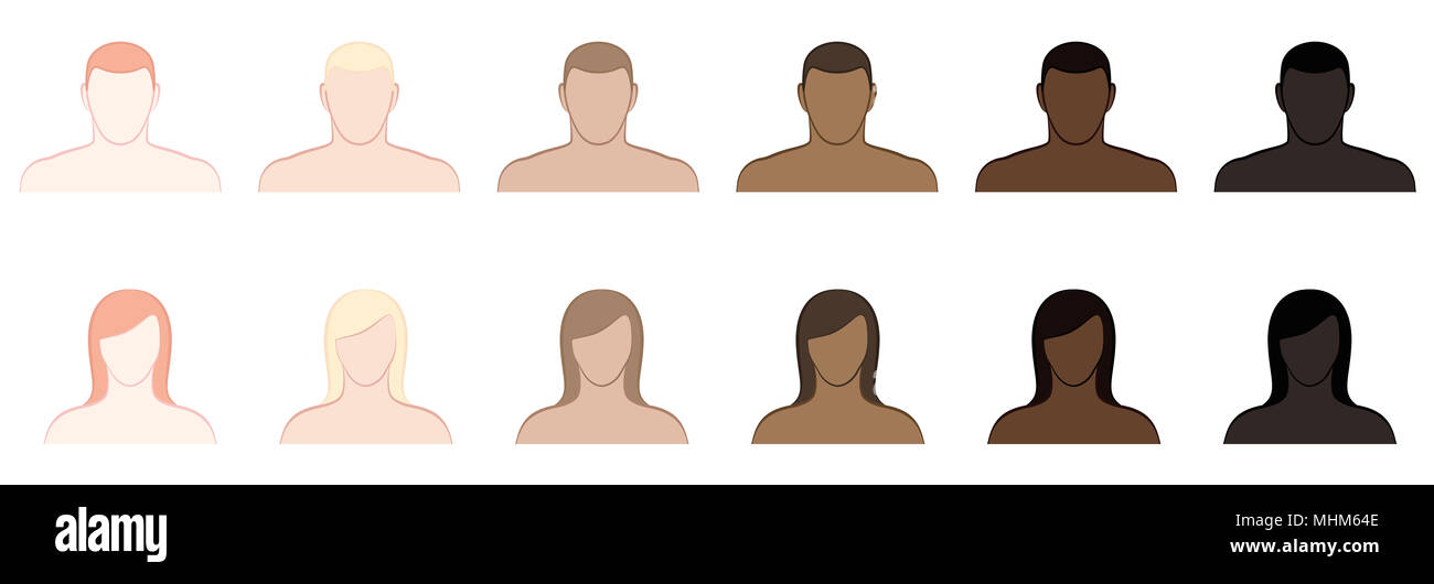 Complexion. Different skin tones and hair colors of men and women. Very fair, fair, medium, olive, brown and black -  illustration on white. - Stock Image
