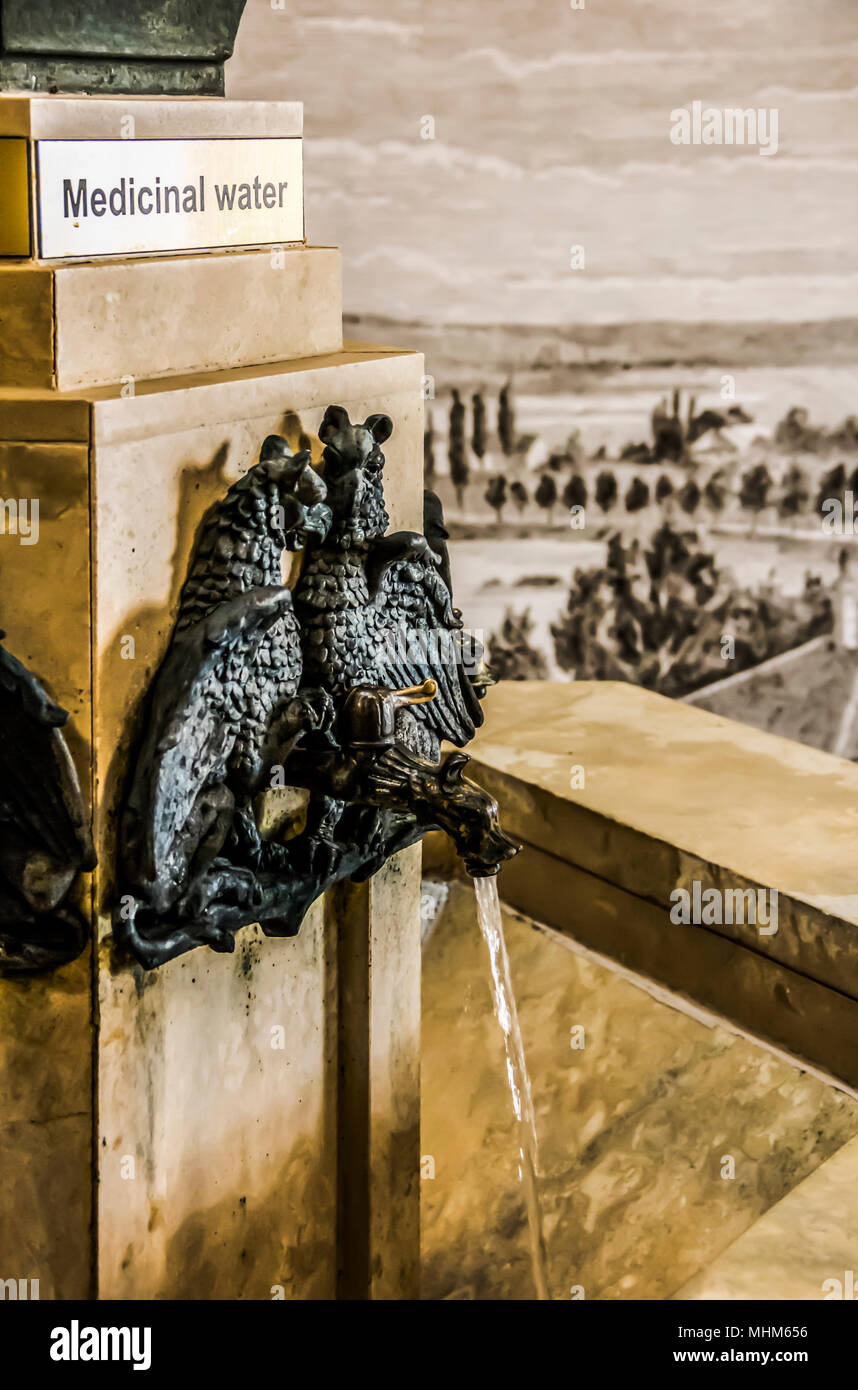 Mineral hot spring water tap. Photo depicts mineral water tap made in old antique style, decorated in a form of duck head and eagle shaped beasts. Eur - Stock Image