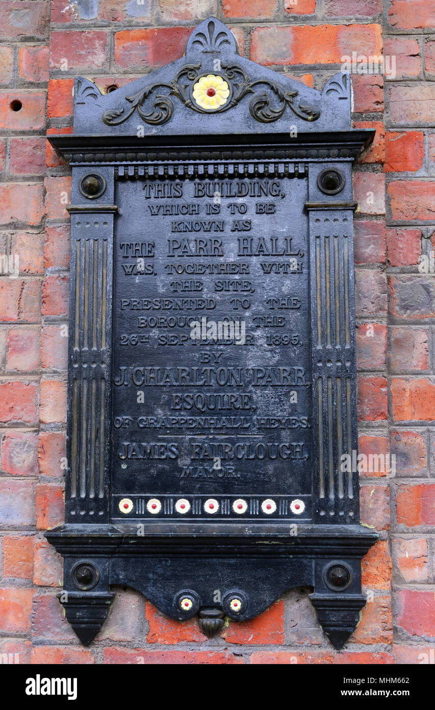The Parr Hall Warrington, Plaque, North West England, UK - Stock Image