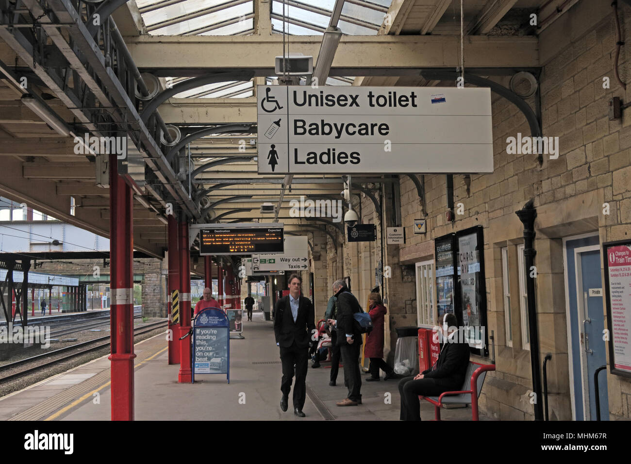 Lancaster Railway Station, Unisex Toilet,Babycare,Ladies facilities, Lancashire, England, UK - Stock Image