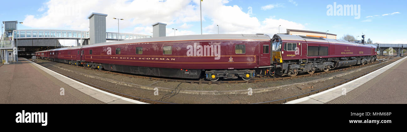 Royal Scotsman Train & engine Belmond 66746 in Perth Railway station - Stock Image