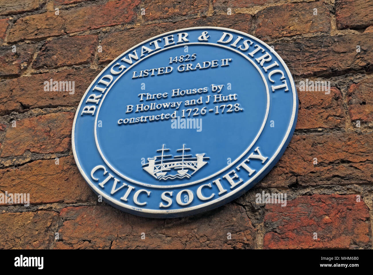 Bridgwater & District Civic Society Blue Plaque Three Houses By Holloway and Hutt, North Somerset, england, UK - Stock Image
