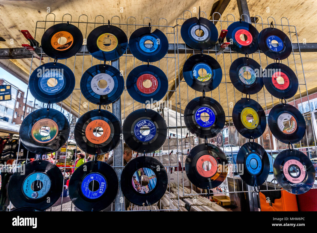 7 Inch vinyl records on display on a market stall, Amsterdam