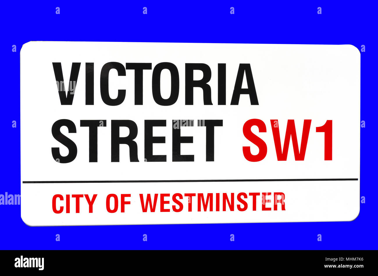 Street sign, Victoria Street, Victoria, City of Westminster, Greater London, England, United Kingdom - Stock Image