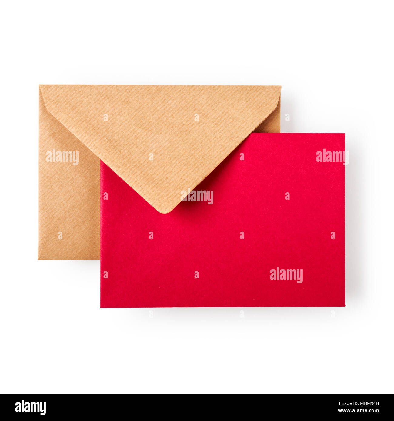 Envelope With Red Greeting Card On White Background Clipping Path
