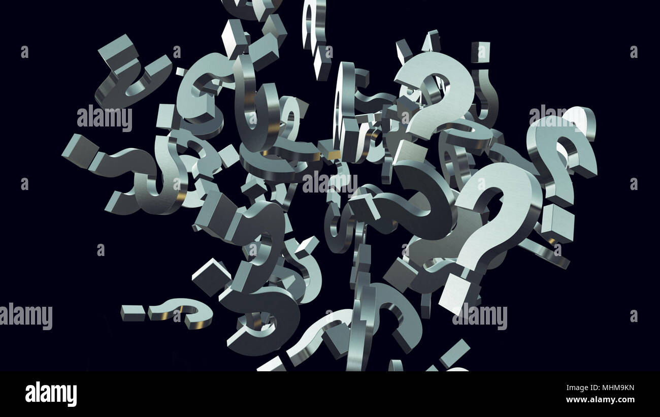 3d rendering illustration of exploding question mark particles as concept of perplexion and confusion, looking for answers - Stock Image