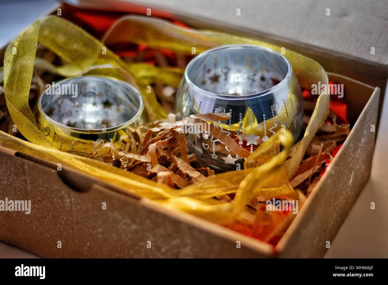 candlestick gift box - Stock Image