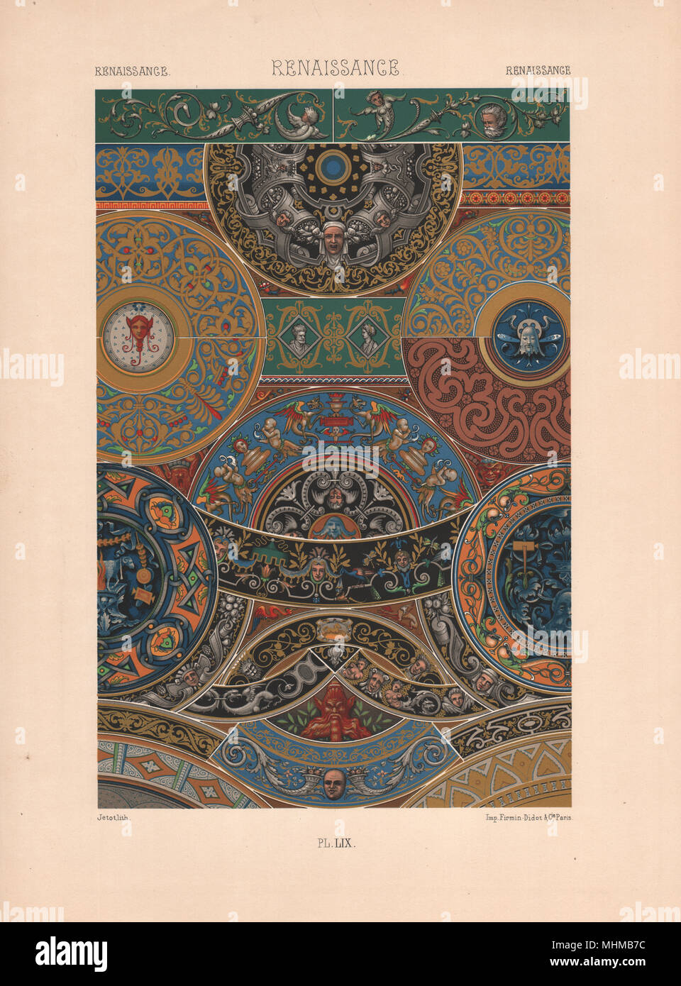 RACINET ORNEMENT POLYCHROME 59 Renaissance decorative arts patterns motifs c1885 - Stock Image