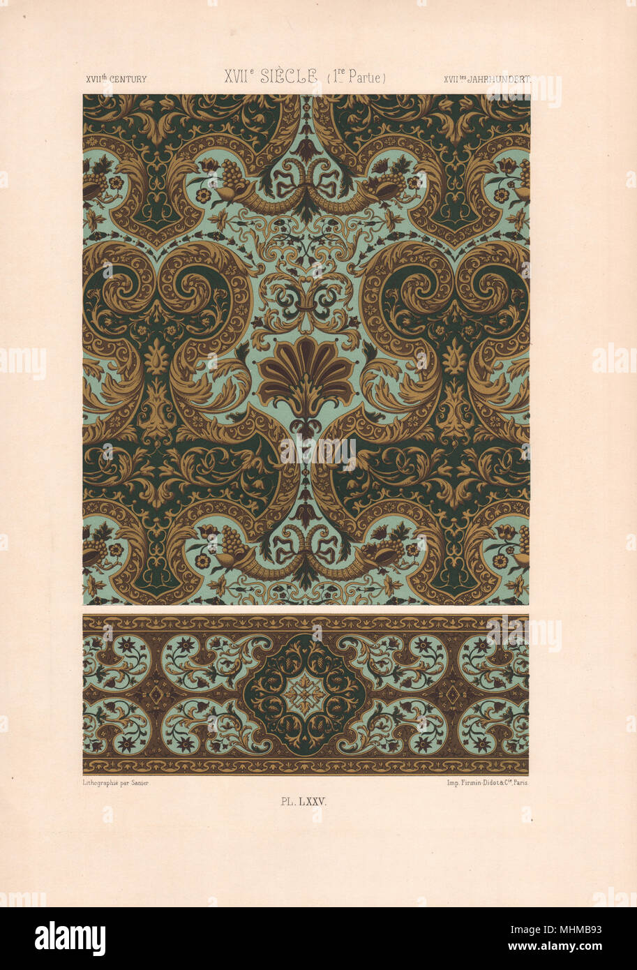 RACINET ORNEMENT POLYCHROME 75 17th century Baroque arts patterns motifs c1885 - Stock Image