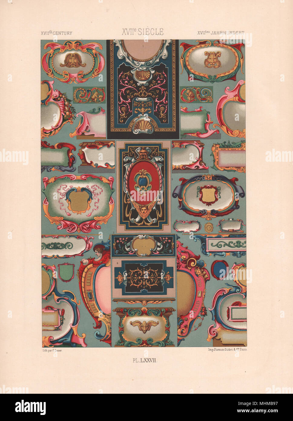 RACINET ORNEMENT POLYCHROME 77 Early 17th century Baroque art pattern c1885 - Stock Image