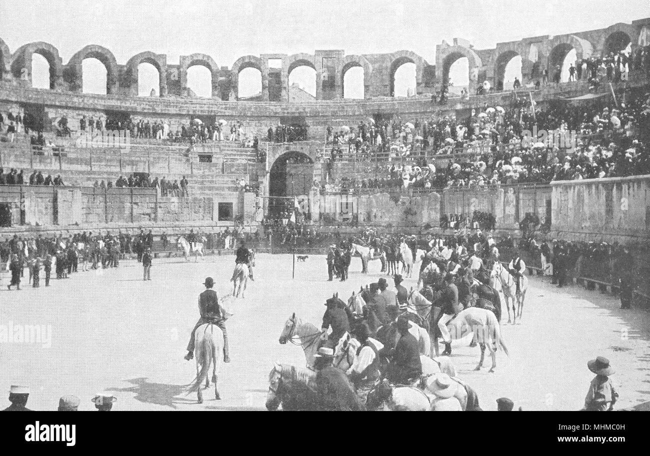 BOUCHES- DU- RHÔNE. Jeux Provençaux dans les Arènes D'arles 1900 old print - Stock Image