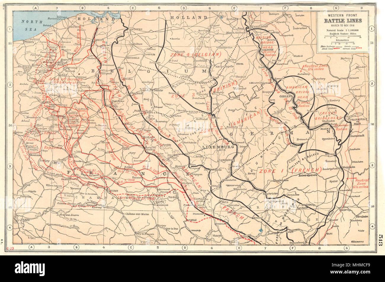 World war 1western front battle lines march nov 1918 belgium world war 1western front battle lines march nov 1918 belgium france 1920 map gumiabroncs Gallery