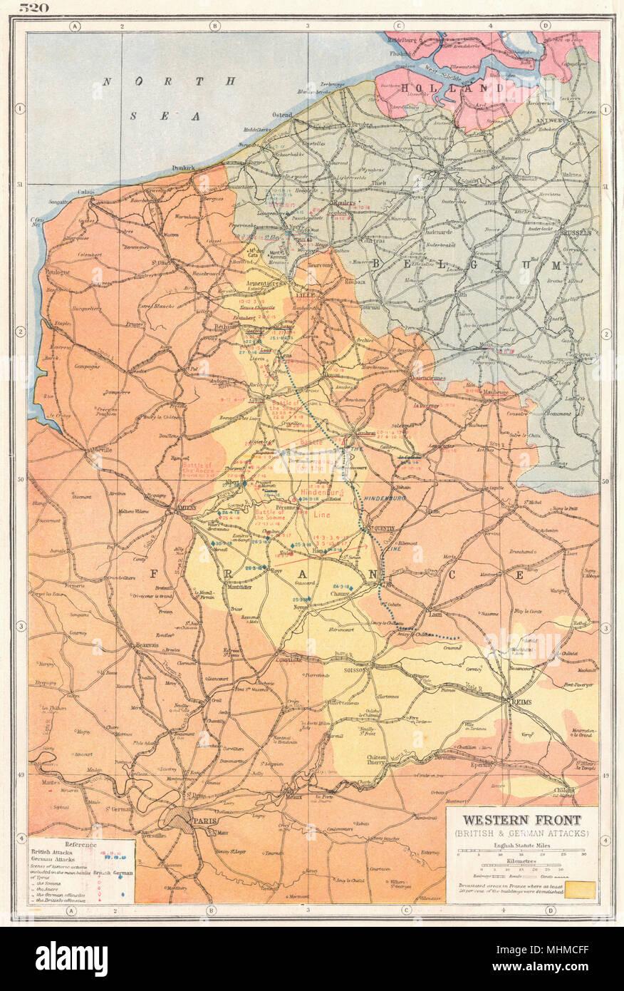 Map Of France Ww1.France Belgium Western Front First World War 1 Key Battles 1914 18