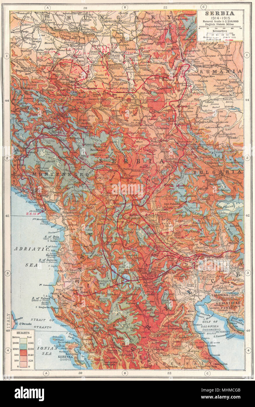 Map Of The World 1920.Serbia Macedonia Montenegro 1914 1915 Battle Lines First World War