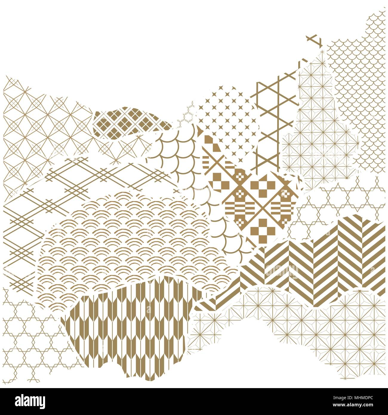 Japanese Pattern Vector Gold Geometric Background In Paper Collage