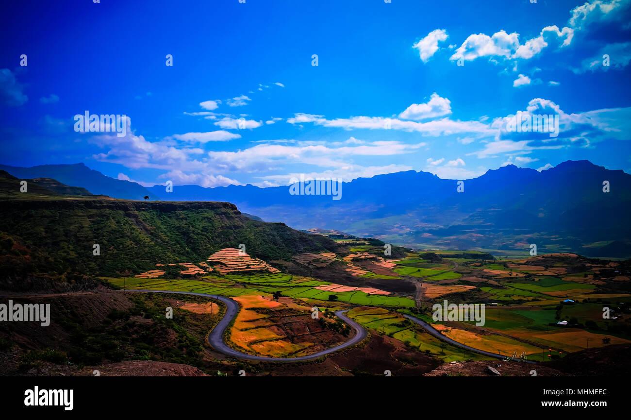 Panorama of Semien mountains and valley around Lalibela, Ethiopia - Stock Image