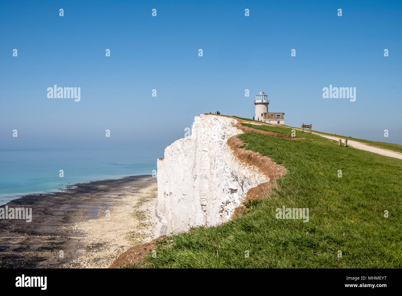 Belle Tout lighthouse, also known as Belle Toute, is a decommissioned lighthouse at Beachy Head, East Sussex, South England, GB, UK - Stock Image