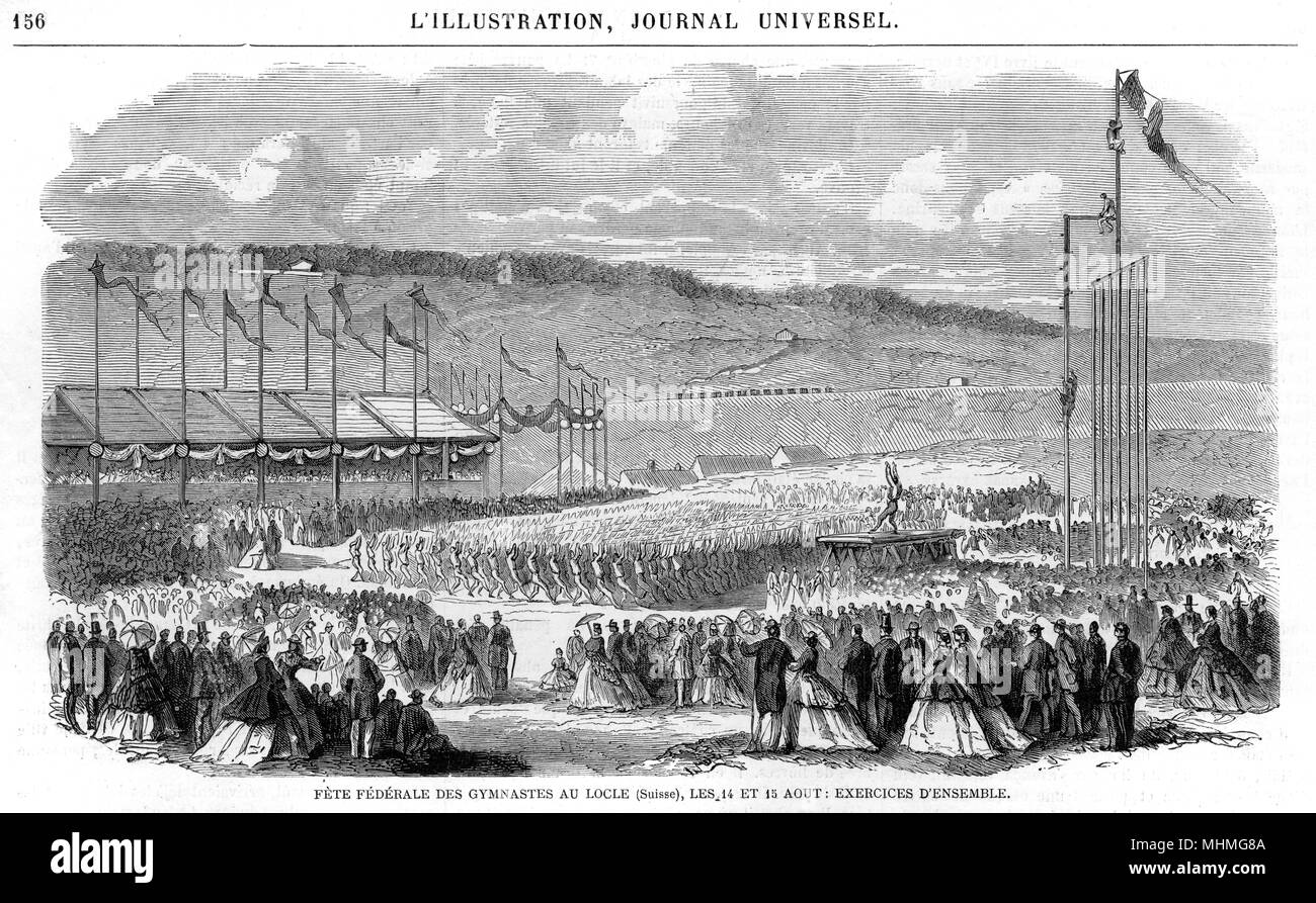 Display of mass gymnastics at the Federal Fete at Locle, Switzerland       Date: 14-15 August 1865 - Stock Image