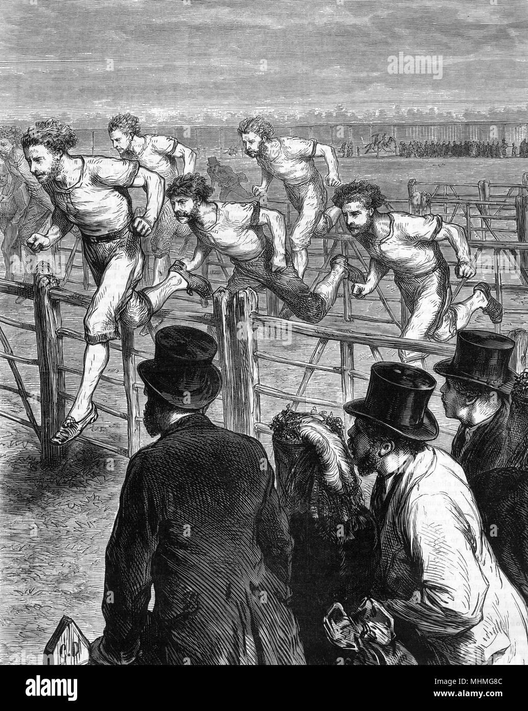 A hurdle race in Brompton, London.       Date: 1871 - Stock Image