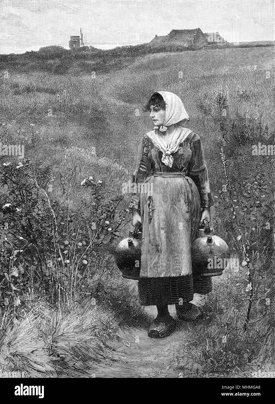 A country girl fetching water from a spring, in a matching pair of pots.      Date: 1888 - Stock Image