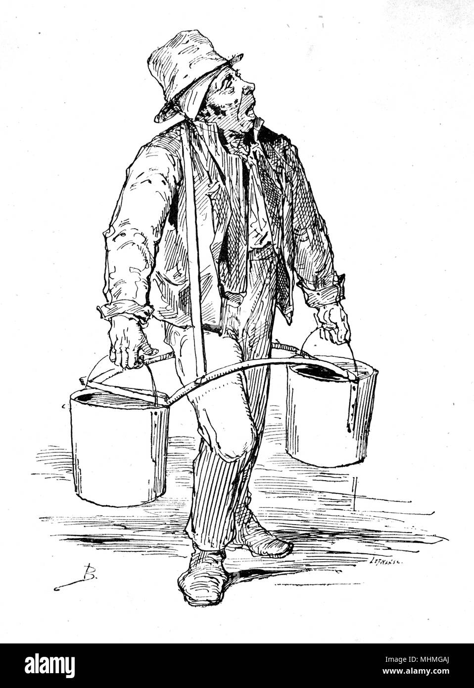 A Parisian water carrier carrying two buckets on a yoke.      Date: circa 1875 - Stock Image