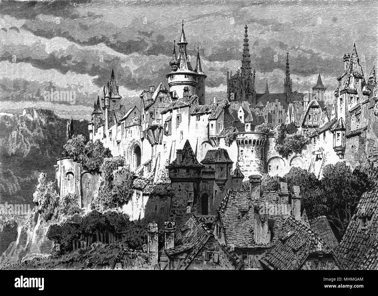 A German walled town with gates and ramparts.        Date: medieval - Stock Image