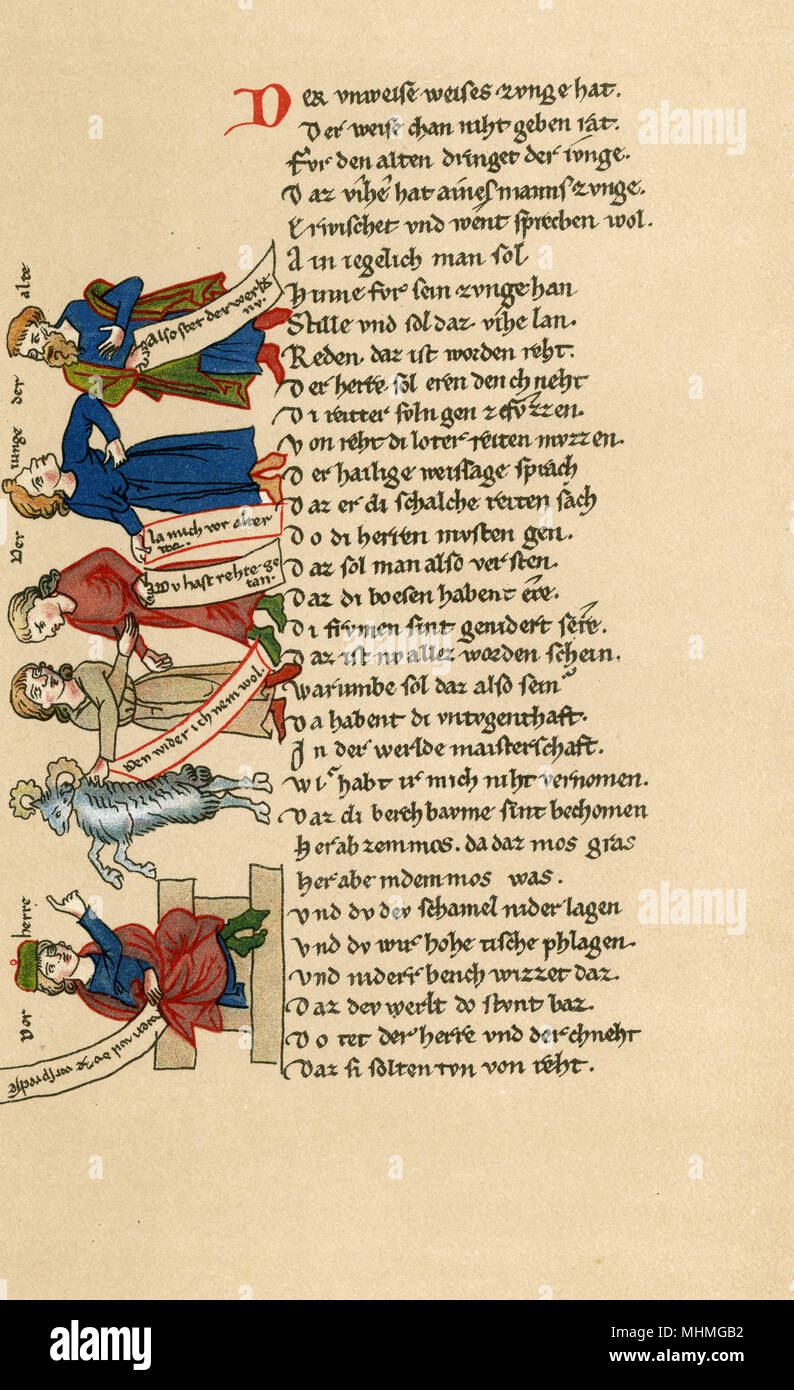 An illustrated page from Der Waelschen Gast (The Foreign Visitor, or The Italian Visitor) of the medieval writer Thomasin von Zirclaere. The title refers to himself, as his mother tongue was Italian.      Date: 13th century - Stock Image