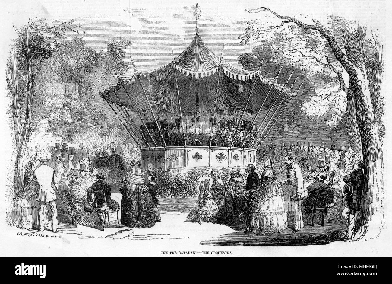 A bandstand in the Pre Catelan, in the Bois de Boulogne, Paris, with people gathered round to hear a concert.      Date: 1856 - Stock Image