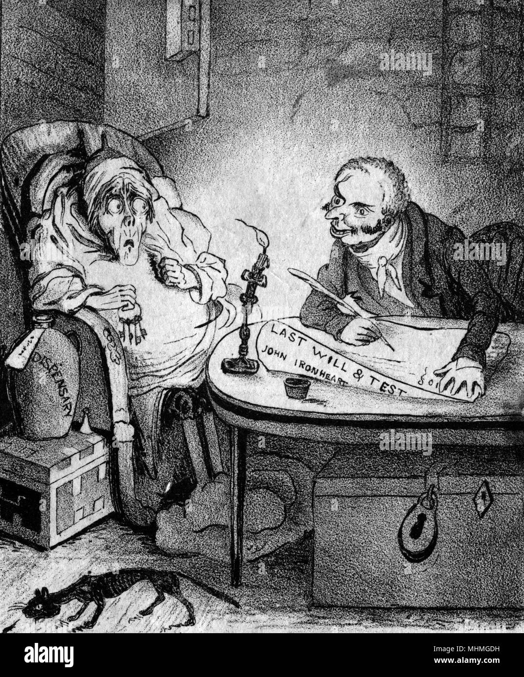 """A solicitor writing a will for a sick client says """"Leave all the rest to me"""". The client, who appears to be a miser (called John Ironheart), is looking horrified.      Date: circa 1830 - Stock Image"""