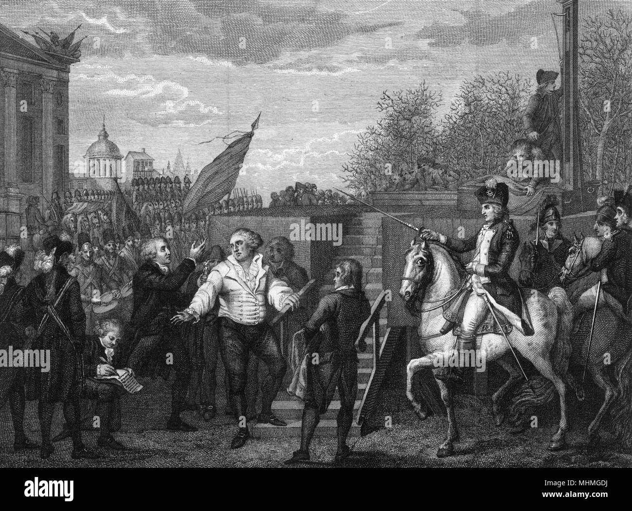 King Louis XVI bids a last goodbye to his friends before mounting the scaffold to the guillotine.        Date: 21 January 1793 - Stock Image