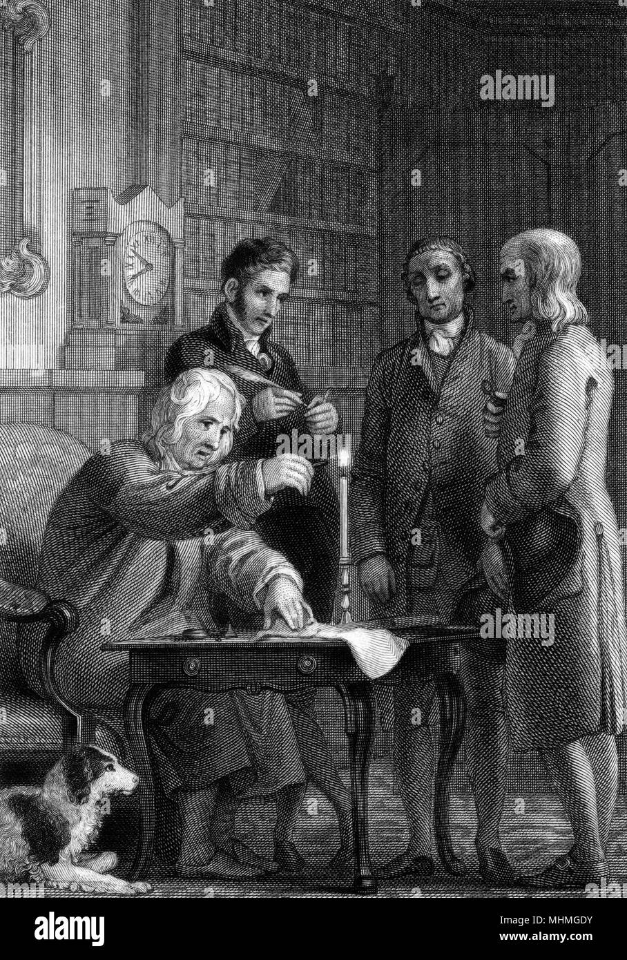 Sealing a letter with wax.        Date: circa 1840 - Stock Image