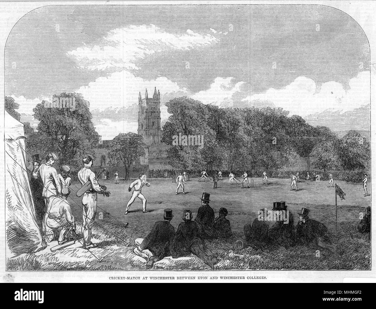 Cricket match at Winchester between Eton and Winchester colleges.       Date: 1864 - Stock Image