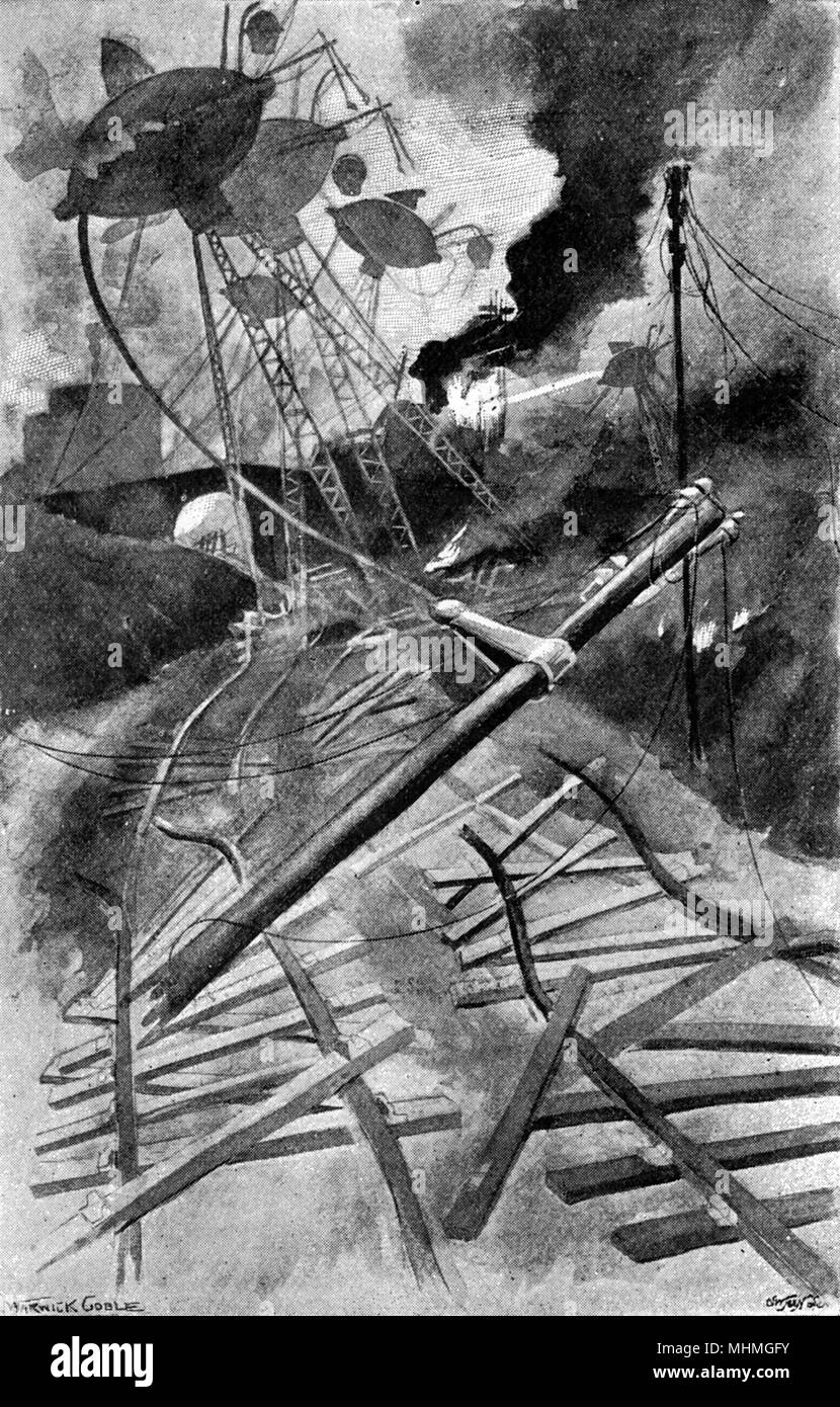 The Martian 'Fighting- Machines' wreck the railways. The War of the Worlds is a science fiction novel by English author H. G. Wells (1866-1946). This plate comes from the first serialised version, published in 1897 by Pearson's Magazine in the UK.     Date: 1897 - Stock Image