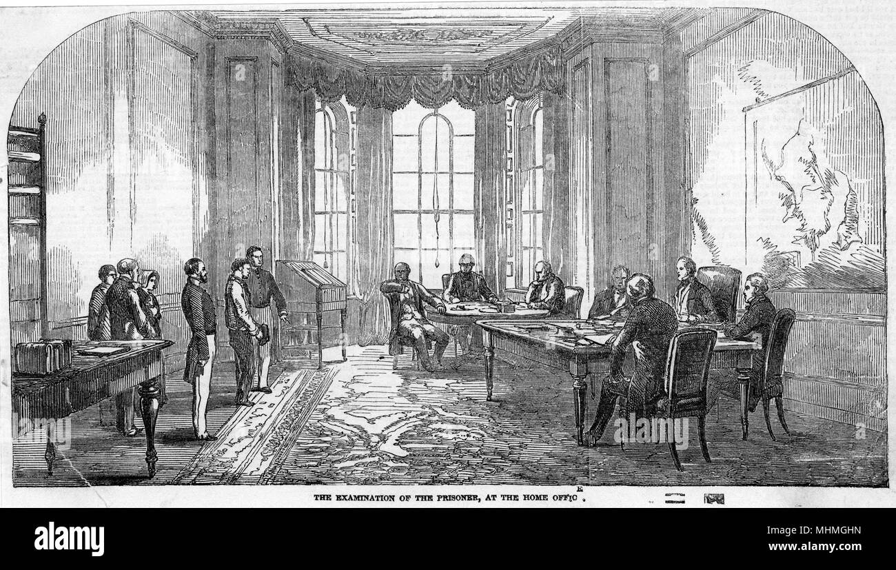Hamilton being interviewed in the Home Office after his assassination attempt on Queen Victoria.      Date: 1849 Stock Photo