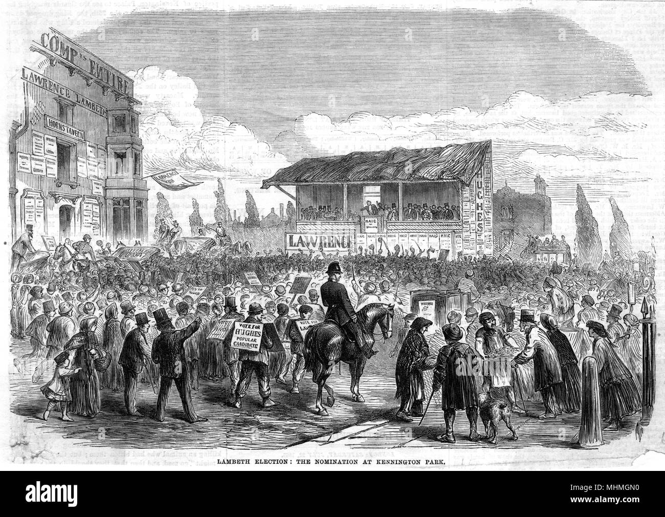 The Lambeth Election : The Nomination at Kennington Park.       Date: 1865 - Stock Image