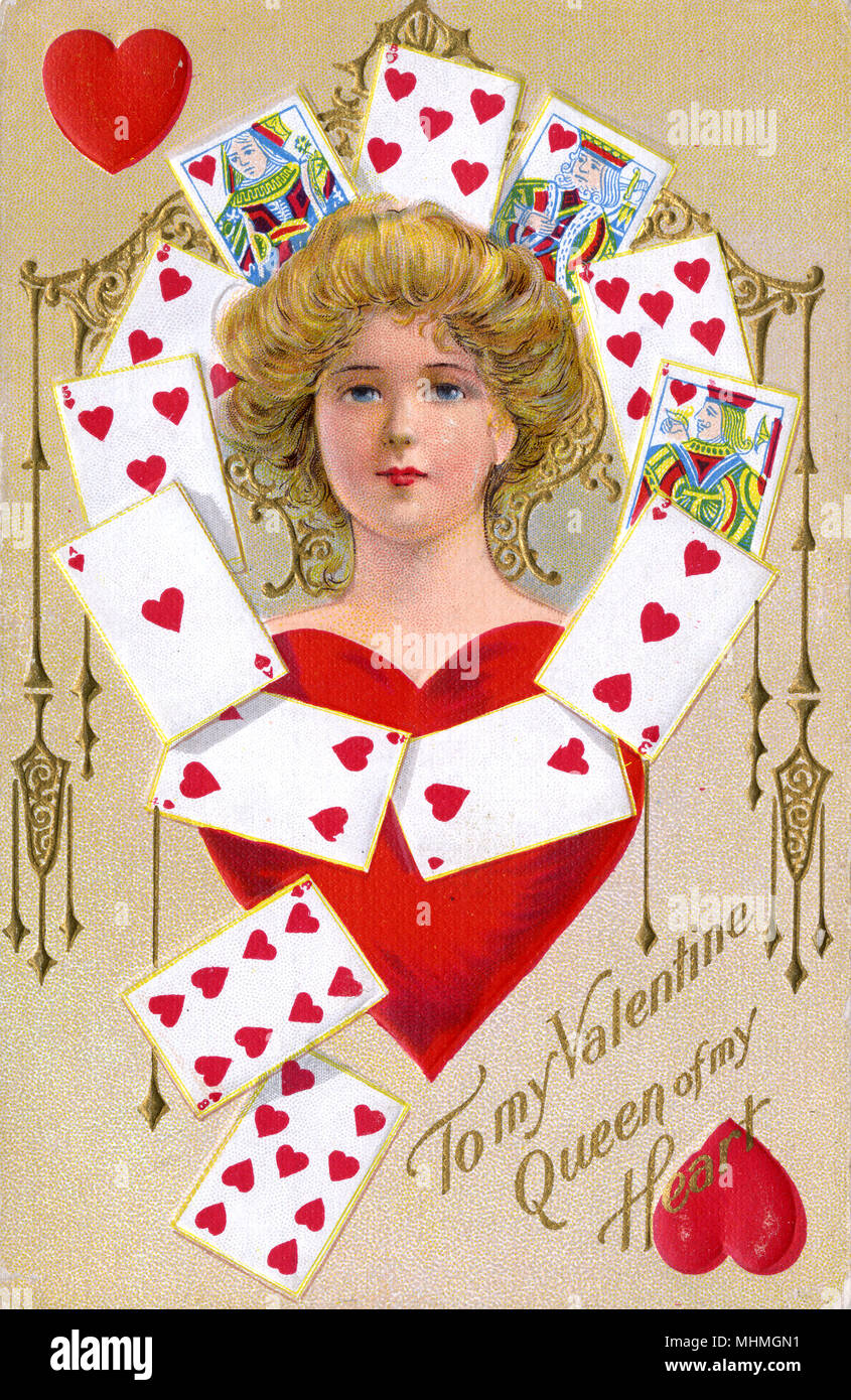 Girl and cards - all hearts, of course - 'To my Valentine, Queen of my heart !'      Date: early 20th century - Stock Image