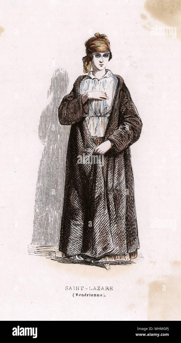 A female prisoner with venereal disease, at Saint- Lazare prison, Paris.      Date: 1850 - Stock Image