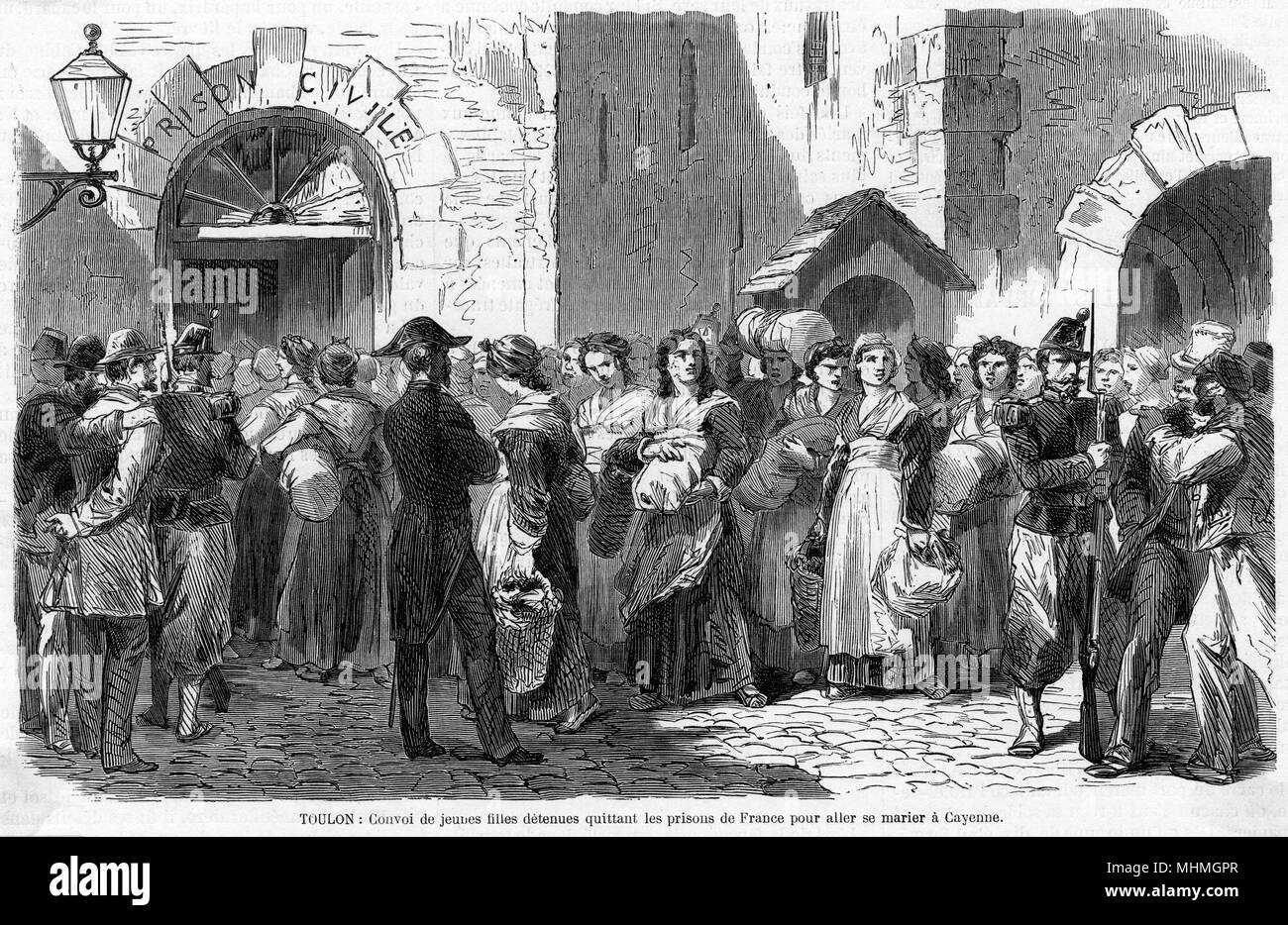 At Toulon, young female prisoners embark for Cayenne, having chosen marriage in the colonies rather than a prison sentence.     Date: 1866 - Stock Image