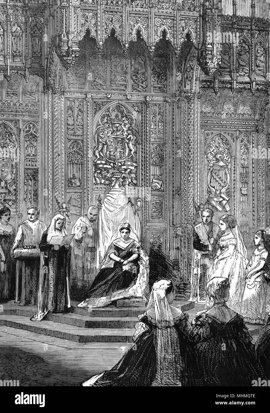 Queen Victoria attends the State Opening of Parliament. The Queen's speech is read to the assembled Lords and Members.     Date: 1871 - Stock Image